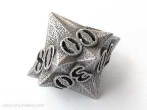 Faceted - 10D10, ten sided gaming dice (D% decader in Polished Bronzed Silver Steel