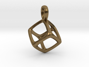 Hexahedron Platonic Solid Pendant in Natural Bronze