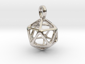 Icosahedron Platonic Solid Pendant in Rhodium Plated Brass