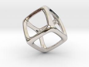 Hexahedron Platonic Solid  in Rhodium Plated Brass