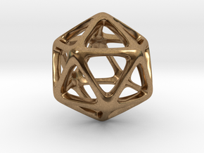 Icosahedron Platonic Solid  in Natural Brass
