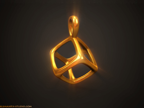 Hexahedron Platonic Solid Pendant in Natural Brass
