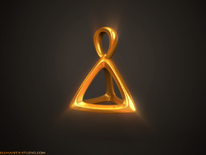 Tetrahedron Platonic Solid Pendant in Natural Brass