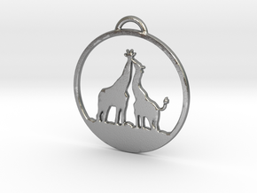 Giraffes Kissing Necklace in Natural Silver