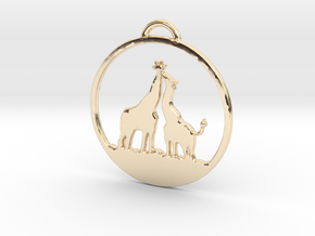 Giraffes Kissing Necklace in 14K Yellow Gold