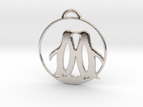 Penguins Kissing in Rhodium Plated Brass