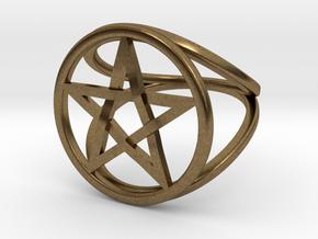 Pentacle ring - crossing in Natural Bronze: 7.5 / 55.5