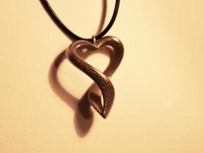 Twisted Heart Necklace in White Natural Versatile Plastic