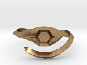 hexagonal stone ring in Natural Brass