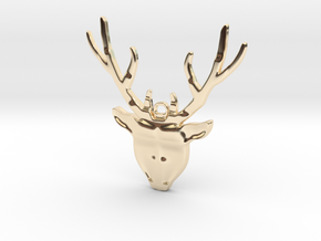 Deer head with antlers - Pendant in 14K Yellow Gold