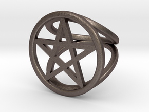 Pentacle ring in Polished Bronzed Silver Steel: 2 / 41.5