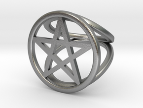 Pentacle ring in Natural Silver: 2 / 41.5