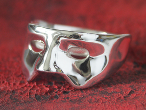 Mask Ring US size 9.25 in Polished Silver