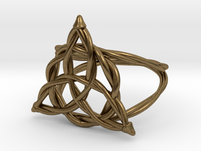 Woven triquetra ring in Raw Bronze: 6 / 51.5