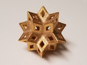 Rhombic Hexecontahedron Steel Small in Polished Gold Steel