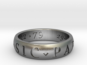 Size 11.5 Sir Francis Drake, Sic Parvis Magna Ring in Natural Silver