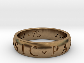 Size 11.5 Sir Francis Drake, Sic Parvis Magna Ring in Natural Brass