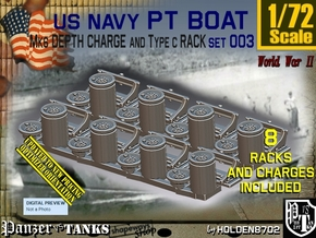 1/72 PT Boat Depth Charge w Rack Set003 in Smooth Fine Detail Plastic