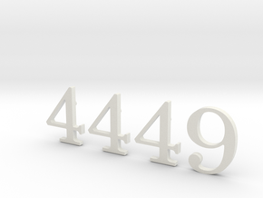 4449 Numbers in White Natural Versatile Plastic