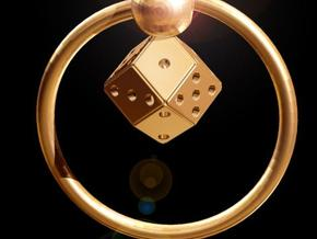 Keyring with Rhombic Die in Polished Gold Steel