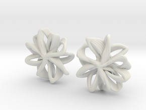 linked petals studs in White Natural Versatile Plastic