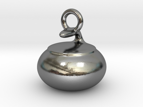 Curling Stone Pendant in Polished Silver