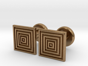 Geometric, Minimalistic Men's Square Cufflinks in Natural Brass