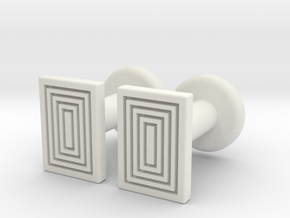 Geometric, Minimalistic Men's Rectangular Cufflink in White Natural Versatile Plastic