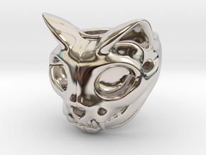 Cat Skull Ring in Rhodium Plated Brass: 8 / 56.75