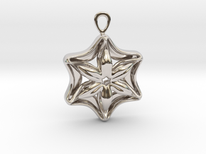 """In full bloom"" Pendant in Rhodium Plated Brass"