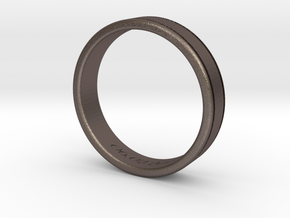 Classy Gentlemans Wedding Band in Polished Bronzed Silver Steel: 8.5 / 58