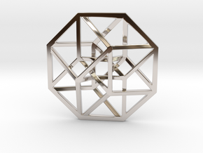 4D Hypercube (Tesseract) small in Rhodium Plated Brass
