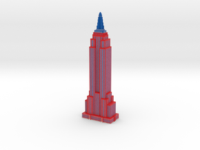 Empire State Building in Red White Blue Patriotic  in Full Color Sandstone