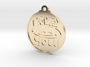 Love You face pendant in 14k Gold Plated Brass