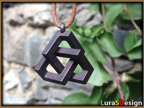 Cubic Trefoil Knot in Polished Bronzed Silver Steel: Medium