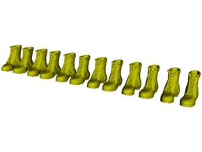 1/24 scale military boot A pairs x 6 in Smooth Fine Detail Plastic