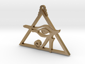 Eye of Ra Pyramid in Polished Gold Steel