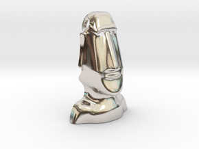 Moai : Head Statue of the island of Easter in Rhodium Plated Brass