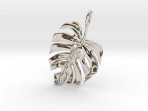 Monstera Pendant in Rhodium Plated Brass
