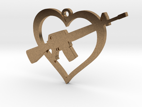 I Love my AR-15 Pendant in Natural Brass