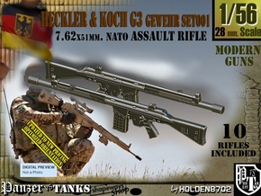 1/56 Heckler Koch G3 Set001 in Smoothest Fine Detail Plastic