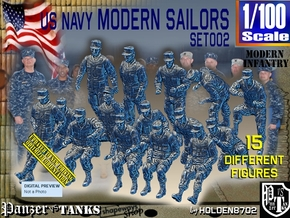 1/100 USN Modern Sailors Set002 in Smooth Fine Detail Plastic