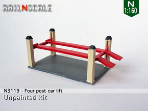 Four post car lift (N 1:160) in Smooth Fine Detail Plastic