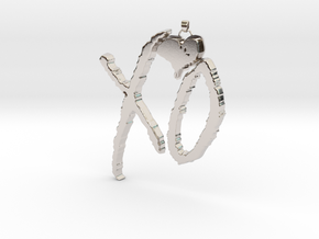 XO Pendant in Rhodium Plated Brass