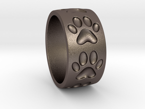 Dog Paw Ring in Polished Bronzed Silver Steel: 5 / 49