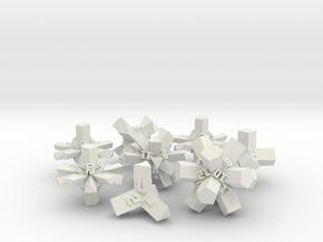 Brutalist Dice Set — Version 1 (8 pc.) in White Natural Versatile Plastic
