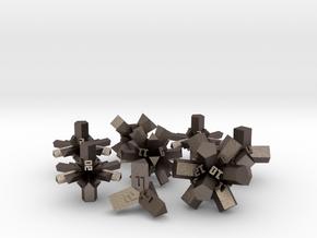 Brutalist Dice Set — Version 1 (8 pc.) in Polished Bronzed Silver Steel