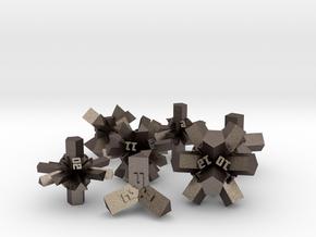 Brutalist Dice Set — Version 1 (7 pc.) in Polished Bronzed Silver Steel