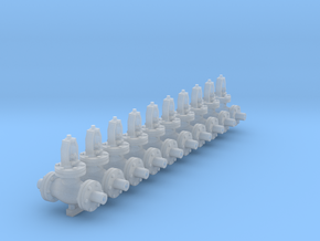 1:48 6 inch Globe Valves 10ea in Smooth Fine Detail Plastic