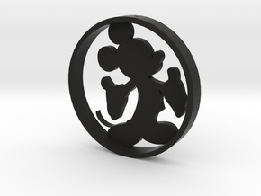 Mickey_Silhouette_Ornament in Black Natural Versatile Plastic